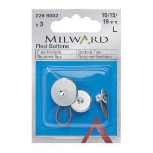 Botões Flexíveis Metal Prata- 10/ 15/ 19mm