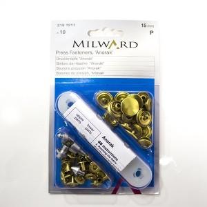 Botões de Pressão Inox Anorak Ouro 15mm